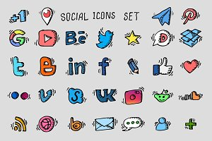 Social icon set. Vector