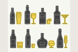Bottles and glasses line icons