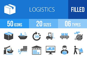 50 Logistics Blue & Black Icons