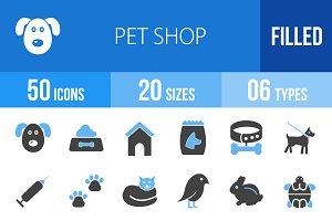 50 Pet Shop Blue & Black Icons