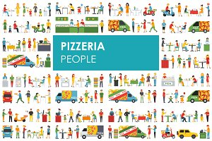 Pizzeria - flat people set