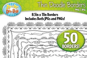 Thin Doodle Frame Borders Set 1