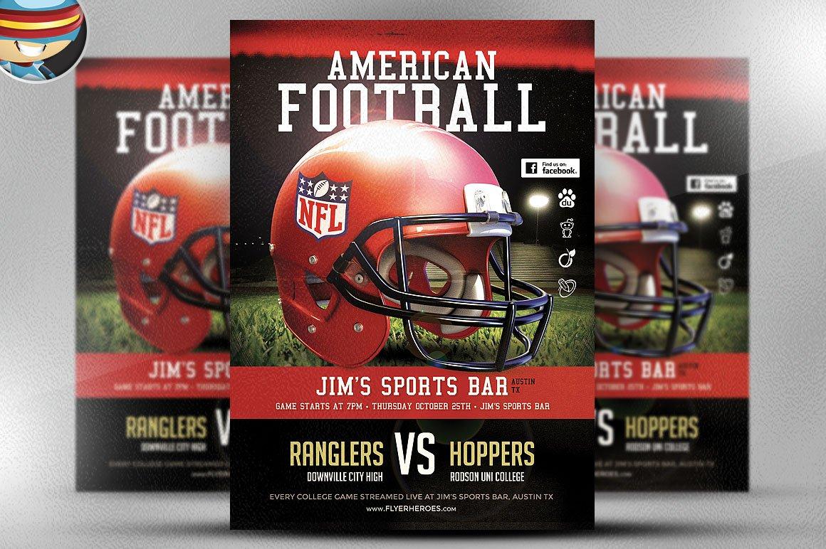 American Football Flyer Template 1 Flyer Templates Creative Market – Football Flyer Template