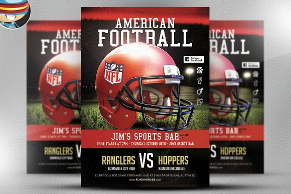 american football flyer template 1 flyer templates creative market. Black Bedroom Furniture Sets. Home Design Ideas