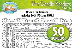 Thin Doodle Frame Borders Set 2