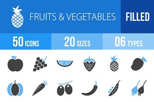 50 Fruits & Veggies Blue Black Icons