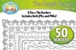 Thin Doodle Frame Borders Set 4