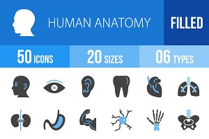 50 Human Anatomy Blue & Black Icons