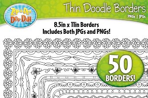 Thin Doodle Frame Borders Set 6