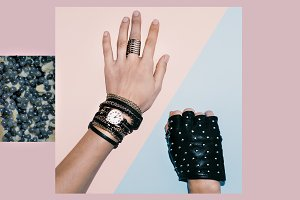 Jewelry and leather gloves