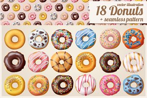 18 Donuts Icons + Seamless Pattern