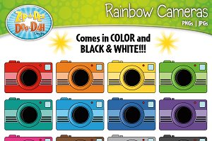 Rainbow Camera Clip Art Set