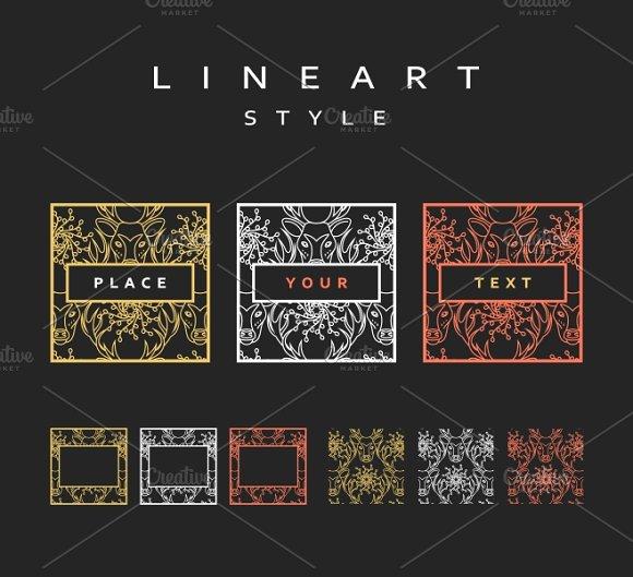 Set of design elements. Line art - Product Mockups
