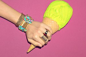 Bracelets and rings. Be fashion