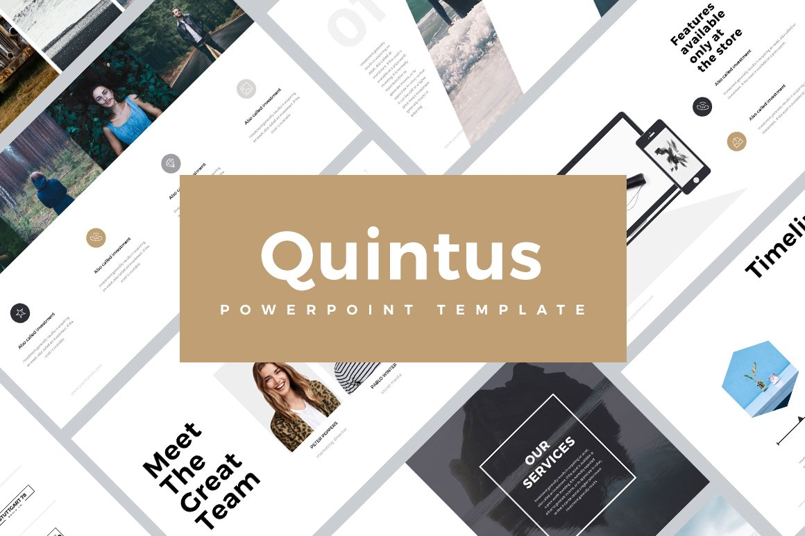 quintus minimal powerpoint template presentation templates creative market. Black Bedroom Furniture Sets. Home Design Ideas