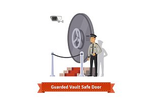 Guarded vault safe door