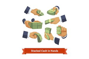 Stacked cash in hands