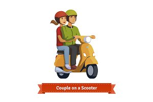 Couple on a scooter.