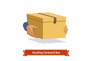 Hands carrying a cardboard box