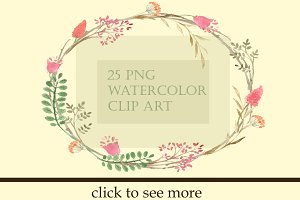 25 Watercolor Summer Garden Clip Art