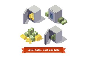 Small safes with gold bars and cash.