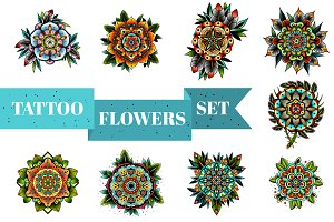 Tattoo Flowers Set