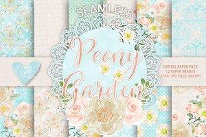 Watercolor peony Garden