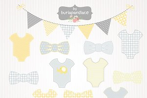 Baby boy yellow/grey clipart