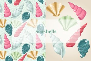 Vector pastel seashells