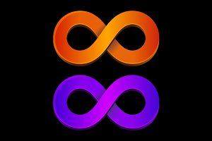 Infinity orange and blue sign