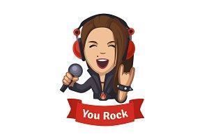 Hard rocking singer girl.