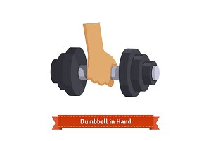 Heavy dumbbell in hand.