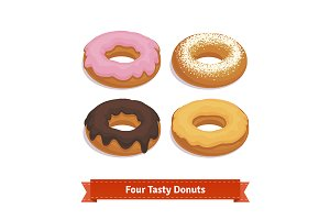 Four tasty flavoured donuts