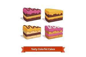 Tasty cake slices with cream