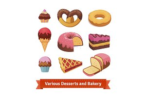 Various desserts and bakery.