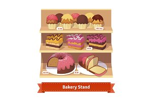 Bakery shop stand with desserts