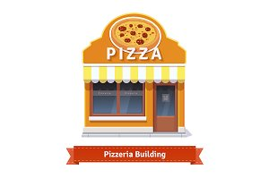 Pizza shop building facade