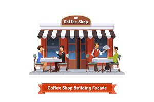 Coffee shop building facade