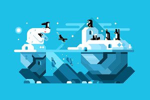 Arctic polar bear with penguins