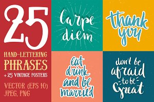 25 Hand Lettering Phrases & Posters