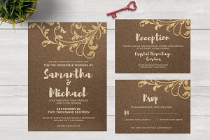 Kraft paper and Gold foil invitation