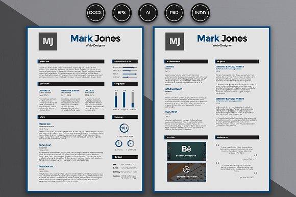 resume cv mark resume templates creative market
