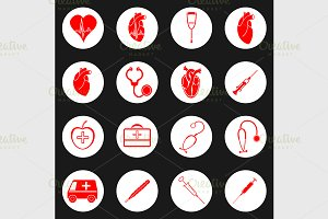 Medicine red and white icon