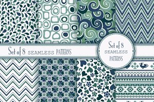 Set of 8 seamless pattern in retro