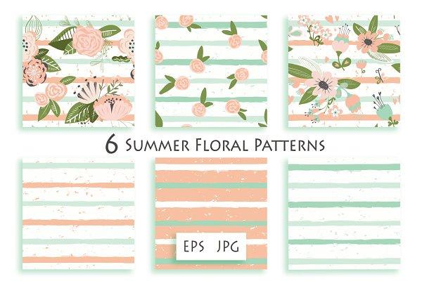 Flowers on striped seamless pattern