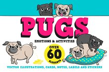 Pugs. Emotions and activities.