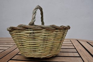 halfah grass basket and cane