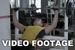 Bench press exercising in the gym