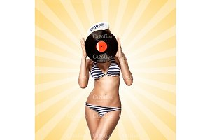 Bikini and vinyl.