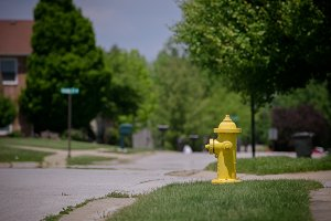 Bright yellow fire hydrant